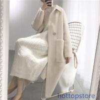 Beige Herbst Damen lang Wollmantel Strickjacke Kaschmirmantel Tasche korean Mode