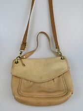 FOSSIL Tan Brown Leather Flap Shoulder Handbag Purse