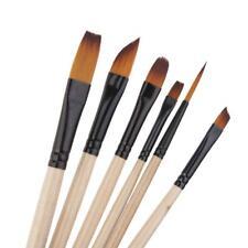 6PC ARTIST ART PAINT BRUSHES SET SUPPLIES Diagonal Filbert ASSORTED TIP D923