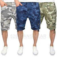 Crosshatch Mens Camo Combat Cargo Shorts Multi Pocket Army Military Knee Length