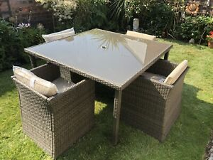 Homebase Rattan Garden Furniture Cube Set Collection Only