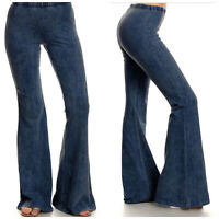 Vintage Womens Bell-bottom Jeans Flared Trousers Ladies Loose Mid Waist Pants