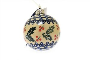 "Boleslawiec Polish Pottery Christmas Ornament 3.25"" Hanging Ball Holly Berries"