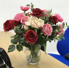Artificial Flower Arrangement, Rose, Vintage Pink Peony Display, Glass Vase