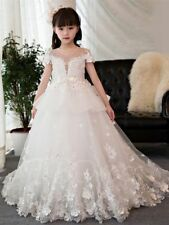 White Flower Girl Dress Lace Applique Tulle Princess Pageant Party Birthday Gown