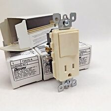 LOT OF 4 LEVITON T5625-A DECORA TAMPER RESISTANT SWITCH RECEPTACLE COMBO ALMOND