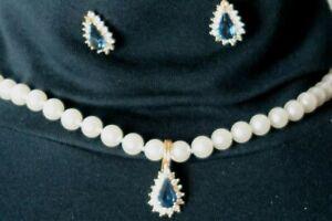 UNBRANDED Sapphire Blue Teardrop w/Crystals & Pearl Necklace w/Earrings Set