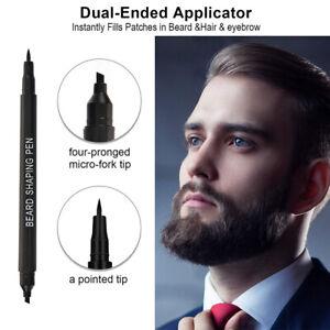 Natural Waterproof Beard Filler Pencil Beard Fast Camouflage Beard Pen &Brush US