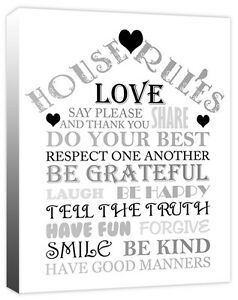 Family House Rules - Quote Love Words Heart Sign - Canvas Wall Art Print Picture