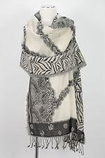 Schal 100% Wolle wool  scarf stole écharpe Grau Weiß Schwarz Black White Grey