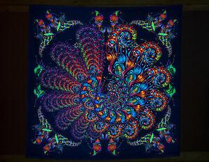 """UV BACKDROP """"Burmental"""" - Blacklight trippy tapestry, psytrance festival banner"""