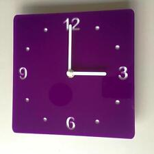Square Purple & White Clock (white Backed) white Hands Silent Sweep Movement
