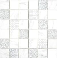 GLAS Mosaik ECO carraraweiß Wand Küche Dusche Rückwand Fliesenspiegel  WB16-0202