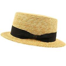 Unisex Maize Straw Flat Top Pork Pie Boater Derby Fedora Sun Hat Natural 7-1/4