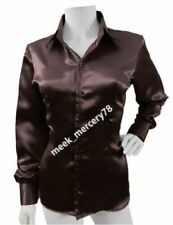 Brown Button-Down Long Sleeve Tops & Shirts for Women