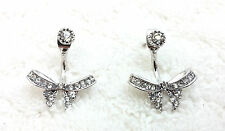 Bow Style Ear Jacket Double Sided Crystal Stud Earrings. #3