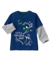 Gymboree All Spruced Up Dark Blue w/ Little Explorer Map L/S Tee 6 12 3T 4T Nwt