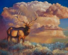 """James Corwin """"The Noble and the Grand"""" Elk 16x20 Original Oil Painting on Canvas"""
