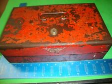 "Snap on USA Empty metal box w/sliding drawer & has key 7-1/4""x11-3/4""x3-3/4"""