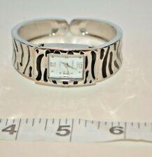 Embassy Women's watch Cuff Bracelet Hinged Silver/Black Tone New Battery Rare