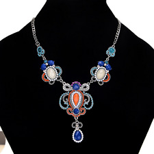 Fashion Retro Women Rhinestone Resin Insects Pendant Statement Chain Necklace