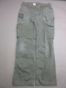 CARHARTT SIZE 34X32 MENS GRAY 100% COTTON DURABLE RELAXED CARGO WORK JEANS T981
