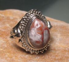 925 sterling silver Laguna lace agate dolphin ring UK P¼/US 8. Gift bag.
