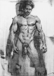 Original charcoal drawing on paper Nude Male Figure Signed