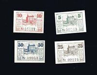 4x Notgeld TRIPTIS Thüringen 5, 10, 25, 50 Pf Kleinformat  1920