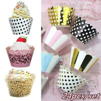 24pcs Cupcake Wrappers Cake Paper Cup Liners Wedding Birthday Party Decoration