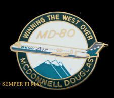 RENO AIR AIRLINES MCDONNELL DOUGLAS MD80 HAT LAPEL PIN LONG BEACH RENO GIFT WOW