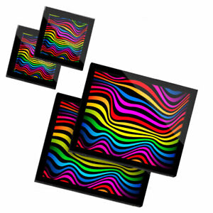 2 Glass placemates & 2 Glass coaster  - Rainbow Waves Stripes Psychadelic  #1559