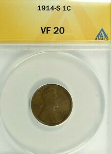 1914-S Lincoln Cent : ANACS VF20