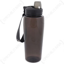 Transparent Black Water Bottle - Sports Military 600ml Drinks Gym Travel Army