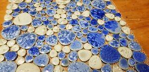 Mosaic ceramic tiles blue pebble white bathroom splashback pool outdoor floor