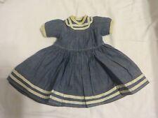 "Vintage Denim Doll Dress ""Looks Handmade"" Neckline To Hem 8 1/2"""
