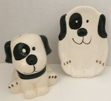 Dog Bathroom Set Toothbrush Holder Soap Dish Ceramic Kid Puppy Black White NEW