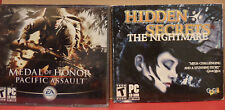 2 PC Video Game Lot Hidden Secrets The Nightmare Medal of Honor Pacific Assault