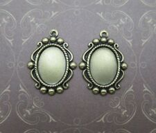 14X10mm Settings - Antiqued Brass - Vintage Inspired - Cameo Frame Bezel - Qty 4