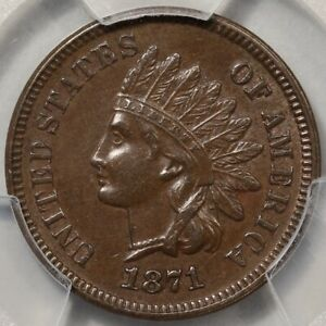 1871 Indian Cent PCGS & CAC AU-58! Better Date, Choice Everyman Registry Coin!