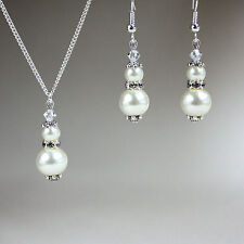 Vintage crystals pearls necklace earrings silver wedding bridesmaid set - cream