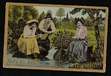 Vintage Antique Postcard Just A Few Lines - People Fishing Printed in Germany