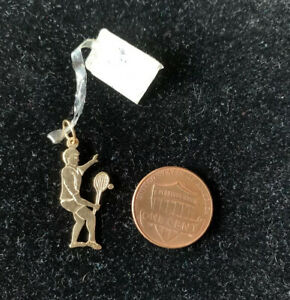 14K Yellow Gold Male Tennis Player Charm Pendant New With Tags Plus Gift Bag