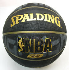 RARE SPALDING GOLD HIGHLIGHT NBA OUTDOOR BASKETBALL BALL SIZE 7 INFLATED NEW !