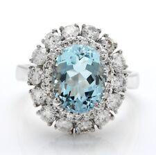 4.40 Quilate Natural Azul Aguamarina y Diamantes en 14K Macizo Blanco Anillo de
