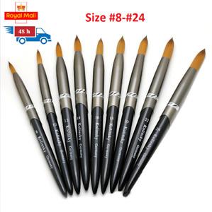 Kolinsky Sable Acrylic Nail Art Brush Crimped Manicure Tool Size #8-24 UV Gel UK