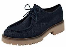 Heine lacets 38 cuir marine véritable Cuir Plateforme Brillance Mocassin Look Chaussure NEUF