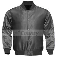 Baseball Letterman College Varsity Bomber Quality Jacket Sports Wear Gray Satin