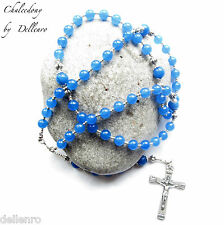 ✫CHALCEDONY✫ BLUE GEMSTONE HANDCRAFTED 5 DECADE ROSARY (boxed)