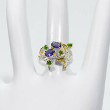ARTISAN CRAFTED AAA IOLITE & CHROME DIOPSIDE .925 STERLING SILVER 2-TONE SZ 7.25